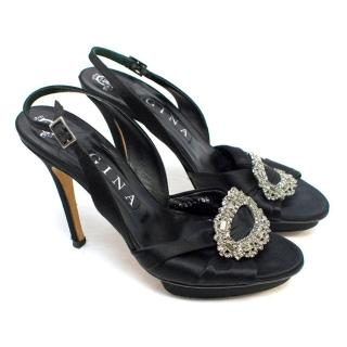 Gina Black Satin Sling Backs with Diamante Embellishment