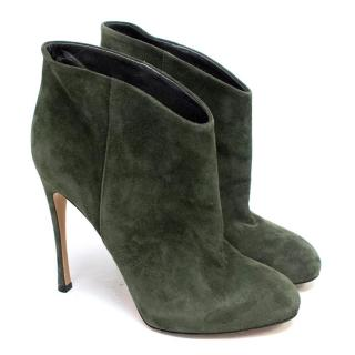 Gianvito Rossi Khaki Suede Heeled Ankle Booties