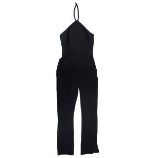 Balenciaga Black Halter Neck Crepe Jumpsuit