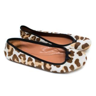 Alaia Pony Hair Leopard Print Ballet Pumps