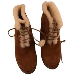 Michel Kors Suede and Shearling Ankle Boots