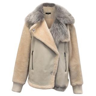 Tibi Shearling Jacket With Blue Grey Sheep Fur Collar