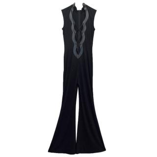Escada Black Jumpsuit With Lace Up Front