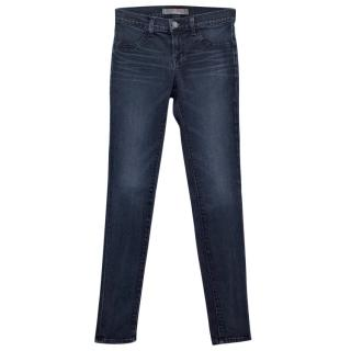 J Brand Super Skinny Blue Jeans With Faint Bleached Detailing