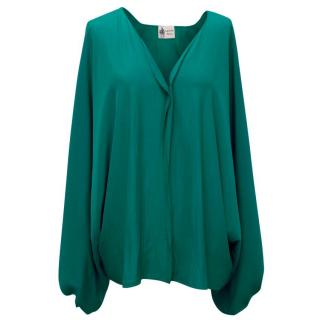 Lanvin Teal Blouse with Balloon Sleeves