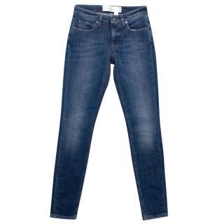 Victoria Beckham Blue Jeans with Chrome Gunmetal Button
