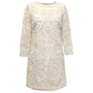 Oscar de la Renta Cream Mesh Embroidered Dress