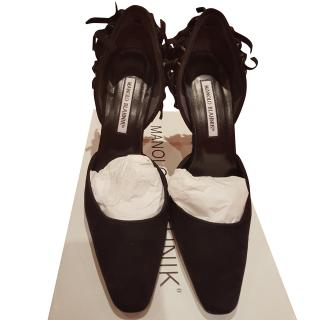 Manolo Blahnik Dorsay black suede tassel heeled shoes