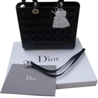 Dior Large Lady Dior black patent leather bag