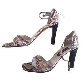 Stuart Weitzman for Russell & Bromley Snakeskin Sandals