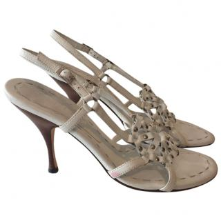 Celine White Leather Slingback Sandals
