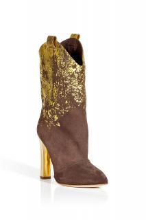 Rupert Sanderson Brown Metallic Suede Cullen Cowboy Boots