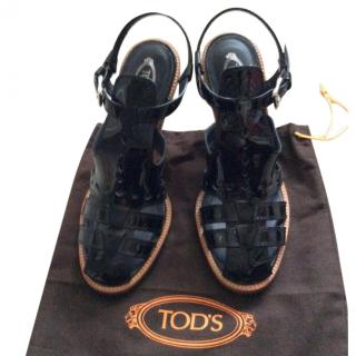 Tod's Black Patent Summer Sandals