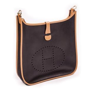 HERMES Evelyne 1 GM Shoulder Bag Ardenne Black Brown bag