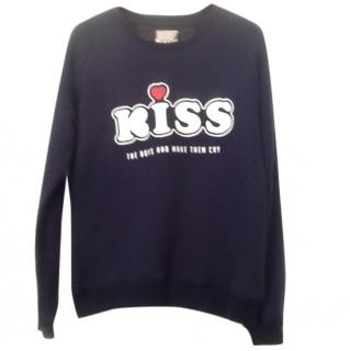 Zoe Karssen Blue 'Kiss The Boys & Make Them Cry' Terry Cotton Sweat