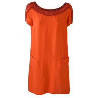 Issa Orange silk dress, with embroidered stones
