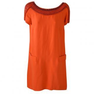 Issa Orange silk dress, with embroidered stones