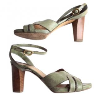 Chloe Green Leather Sandals