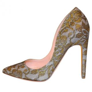 Rupert Sanderson Beige-Gold-tone Lace and leather high heel pumps