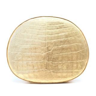 Nancy Gonzales Gold Crocodile Skin Clutch