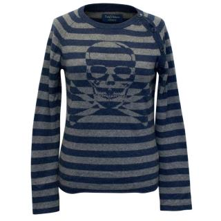 Zadig and Voltaire Blue and Grey Cashmere Skull Sweater