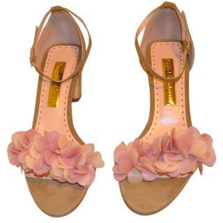 Rupert Sanderson Crimson Beige suede embellished sandals