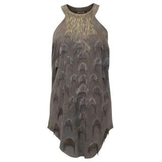 Roberto Cavalli Taupe Suede Top with Chain Details