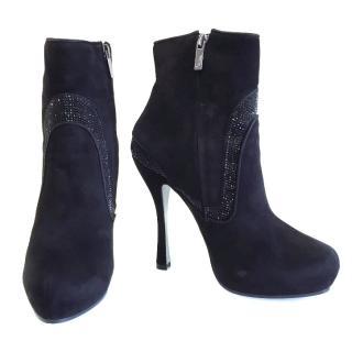 Rene Caovilla black suede ankle boots