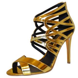 Rupert Sanderson Elica Gold Laminate High Heel Cage Sandals