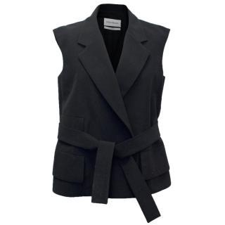 Yves Saint Laurent Black Gilet With Belt
