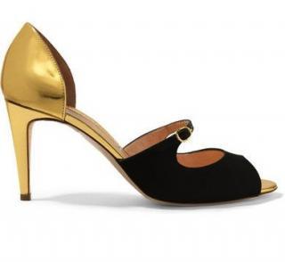 Rupert Sanderson Lorna Gold Leather & Black Satin Sandals