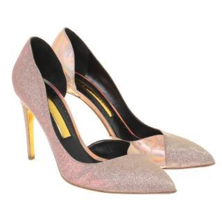 Rupert Sanderson Pink Glitter/Metallic Leather Pumps