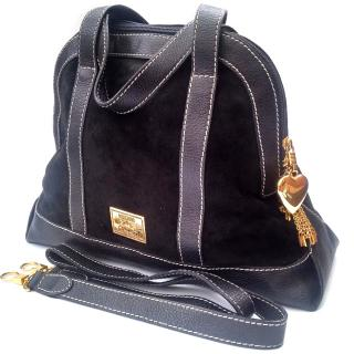 Moschino by Redwall Black Leather Shoulder Bag