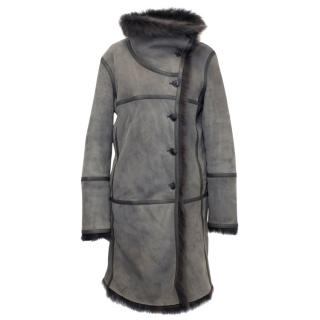 Closed Grey Lambskin Leather and Fur Lining Coat