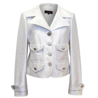 Escada Silver Metallised Jacket with Silver Hardware Details