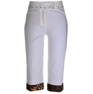 Blumarine Capri Pants with Animal Print Trim