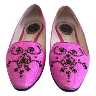Rene Caovilla Pink Raffia Flat Shoes