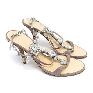 Giuseppe Zanotti Taupe Heeled Sandals With Crystals