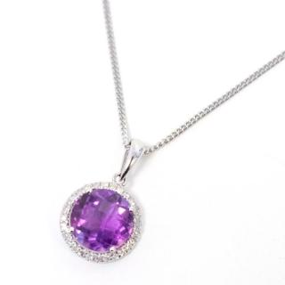 Amethyst and Diamonds, White Gold Necklace
