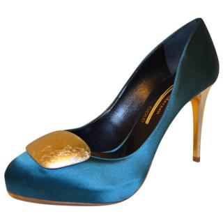 Rupert Sanderson Gold Satin Emerald pumps