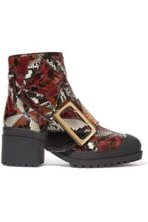Burberry Prorsum patch work python ankle boots