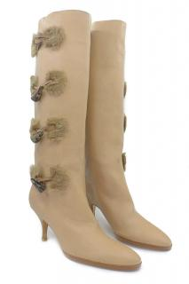 Salvatore Ferragamo Tafalla Leather Knee Toggle Fur Boots 10B