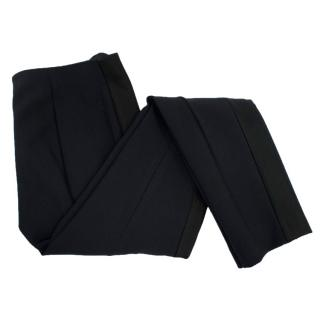 The Row Navy Trousers With Silk Trim