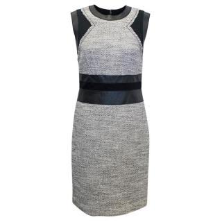 Rebecca Taylor Grey and Black Tweed Pencil Dress