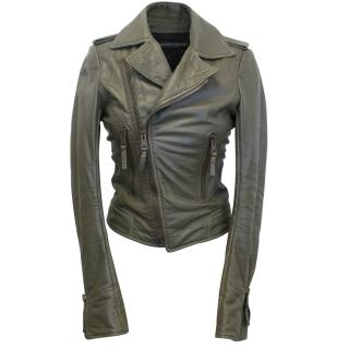 Balenciaga Green Leather Jacket with Zips