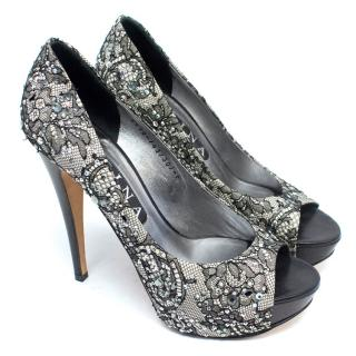 Gina Lace Platform Pumps With Diamantes
