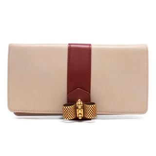 Christian Louboutin Beige Leather Wallet Clutch With Embellishment