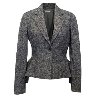 Alexander McQueen Grey Wool Peplum Blazer