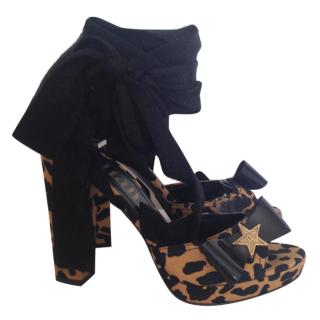 Galliano Animal Print Canvas Platform Ankle Lace Up Sandals