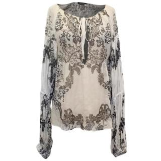 Roberto Cavalli Cream and Black Floral Print Silk Blouse